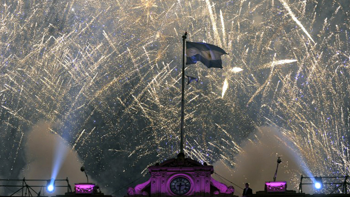 "Fireworks explode at Plaza de Mayo square in Buenos Aires on May 25, 2013 during the celebration of the 10th anniversary of the ""Frente para la Victoria"" as ruling party. (AFP Photo / Alejandro Pagni)"