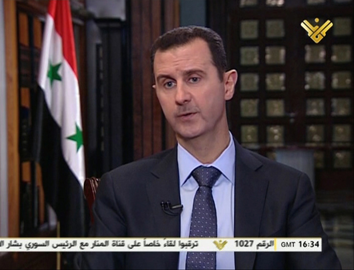 An image grab taken on May 30, 2013 from Lebanon's Shiite Muslim party Hezbollah's al-Manar TV shows Syrian President Bashar al-Assad speaking during a preview of an interview to be aired later today with al-Manar in Damascus (AFP Photo)