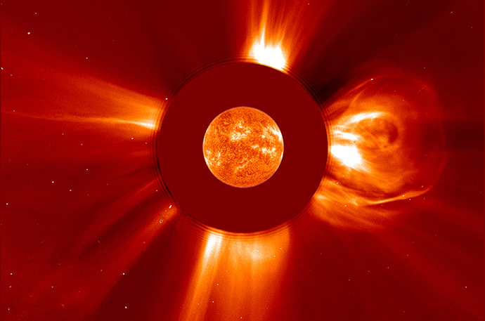 The largest solar flare ever recorded occurred on April 2, 2001, as observed by the Solar and Heliospheric Observatory, or SOHO, satellite. Image Credit: NASA