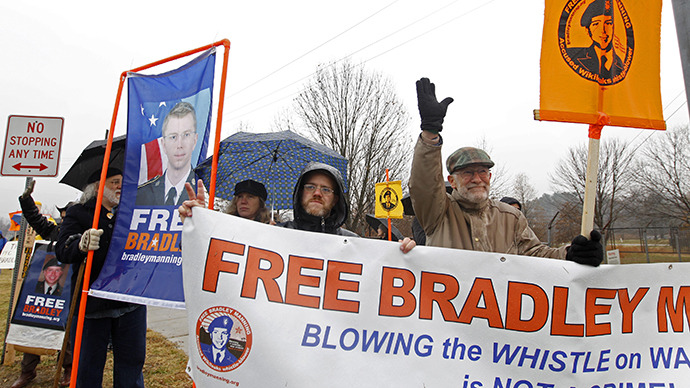 Supporters of U.S. Army Pfc. Bradley Manning protest during his scheduled motion hearing, outside the gates of Fort Meade. (Reuters / Jose Luis Magaua)