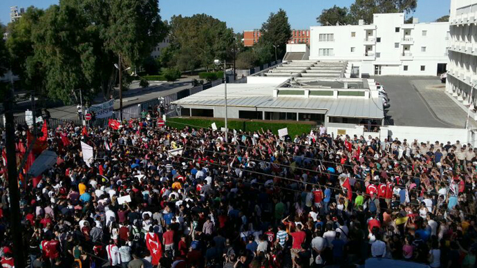 A protest in front of the Turkish Embassy in Nicosia, Cyprus on Saturday. (Photos by Seyhan Özmenek)