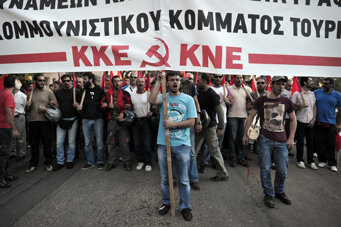 Greek communist party members and supporters march towards the Turkish embassy in Athens on June 3, 2013 during a solidarity march for Turkish protesters and the Turkish communist party (AFP Photo / Louisa Gouliamaki)