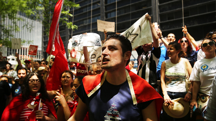 OccupyGezi! OWS activists stage pro-Turkish rally in New York
