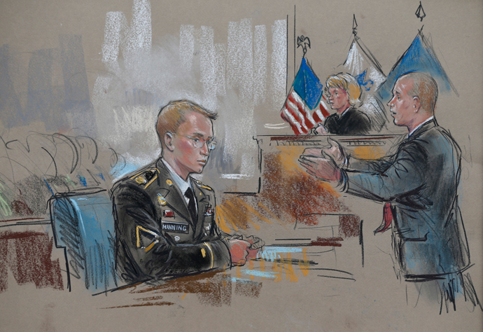 A courtroom sketch depicts Private First Class Bradley Manning, 25, (L) and his attorney David Coombs during the first day of Manning's trial at Fort Meade in Maryland, June 3, 2013 (Reuters / William Hennessy)