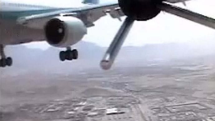 German drone nearly hits 100-passenger Airbus jet – leaked video