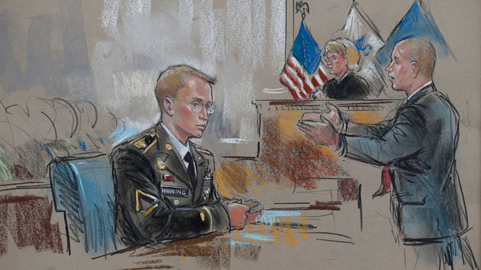 A courtroom sketch depicts Private First Class Bradley Manning, 25, (L) and his attorney David Coombs during the first day of Manning's trial at Fort Meade in Maryland, June 3, 2013.(Reuters / William Hennessy)