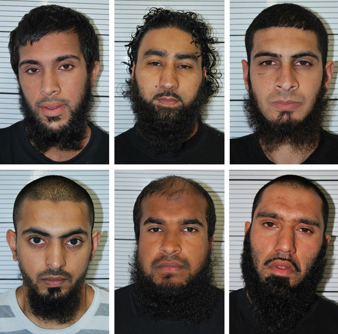 he undated custody photographs of six men (top row L-R) Zohaib Ahmed, Omar Khan, Mohammed Saud (bottom row L-R) Mohammed Hasseen, Jewel Uddin and Anzal Hussain, who all admitted in court on April 30, 2013.(AFP Photo / West Midlsnds Police)