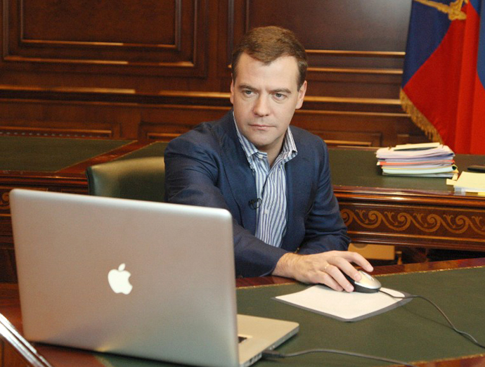 Russian President Dmitry Medvedev makes a video blog post at the presidential residence in Gorki, outside of Moscow, on November 2, 2008. (AFP Photo / Dmitry Astashov)