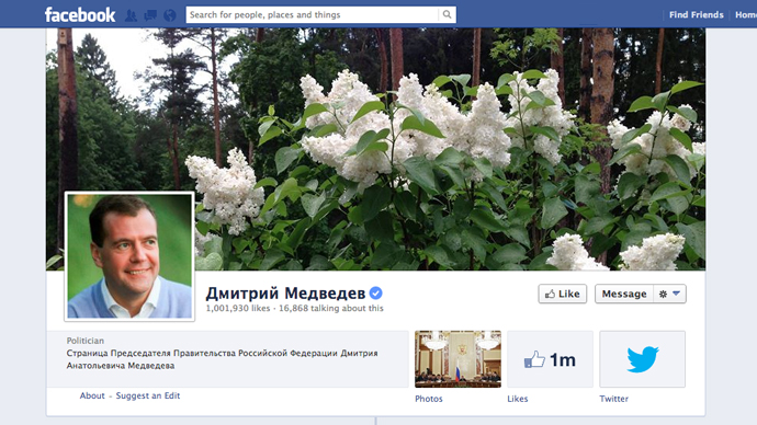 PM Medvedev reaches 1 million 'likes' on Facebook