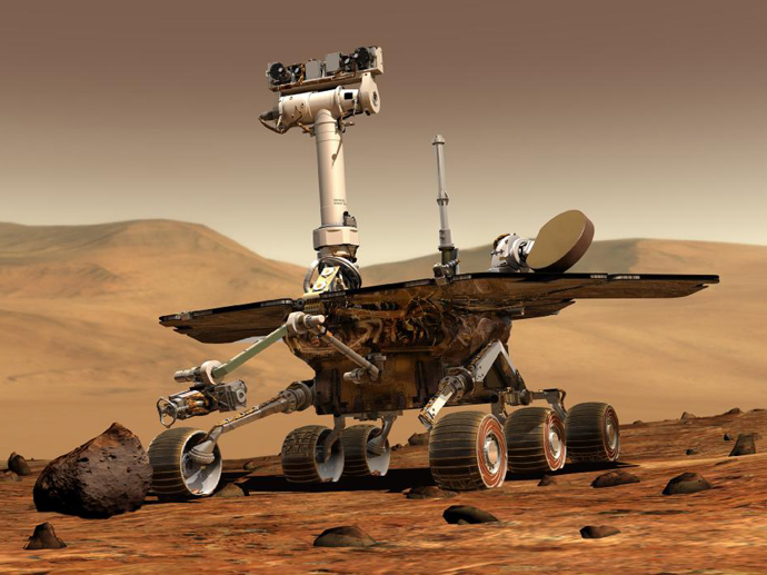 An artist's concept portrays a NASA Mars Exploration Rover on the surface of Mars. Image credit: NASA/JPL/Cornell University