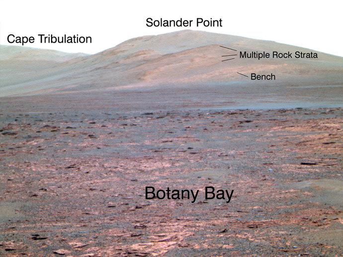 """NASA's Mars Exploration Rover Opportunity used its panoramic camera (Pancam) to acquire this view of """"Solander Point"""" during the mission's 3,325th Martian day, or sol (June 1, 2013). Credit: NASA/JPL-Caltech/Cornell Univ./Arizona State Univ."""