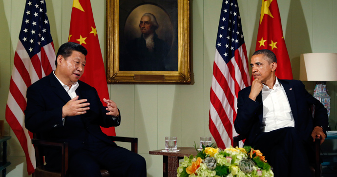 U.S. President Barack Obama meets with Chinese President Xi Jinping at The Annenberg Retreat at Sunnylands in Rancho Mirage, California June 7, 2013 (Reuters / Kevin Lamarque)