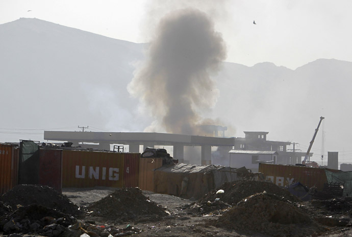 Smoke billows from the site of an explosion in Kabul June 10, 2013. (Reuters/Omar Sobhani)