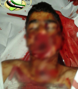 Photo of child executed by islamist rebels in Aleppo (Photo from www.facebook.com/syriaohr)