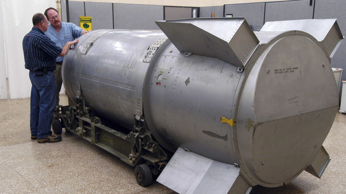 Workers examine a B53 nuclear bomb at the B&W Pantex nuclear weapons storage facility outside Amarillo, Texas (Reuters)