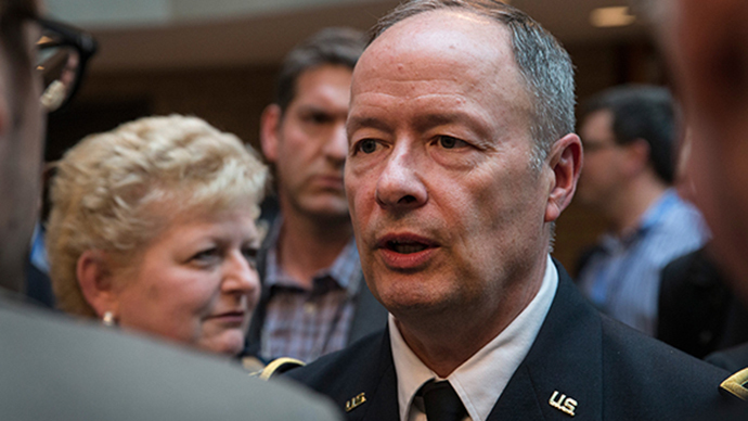 General Keith B. Alexander, Director of the National Security Agency (NSA) and Commander of U.S. Cyber Command, attends the International Conference on Cyber Security (ICCS) on August 8, 2013 in New York City. (AFP Photo / Andrew Burton)
