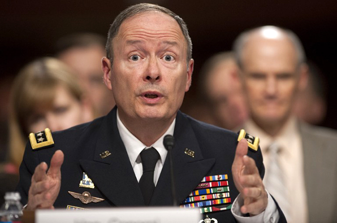 General Keith Alexander, director of the National Security Agency, during a hearing on Capitol Hill in Washington, DC, June 12, 2013. (AFP Photo / Saul Loeb)