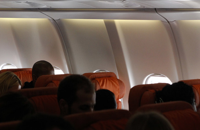 An empty passenger seat believed to be reserved by former U.S. spy agency contractor Edward Snowden is seen on a plane to Cuba in Moscow's Sheremetyevo airport, June 24, 2013. (Reuters/Maxim Shemetov)