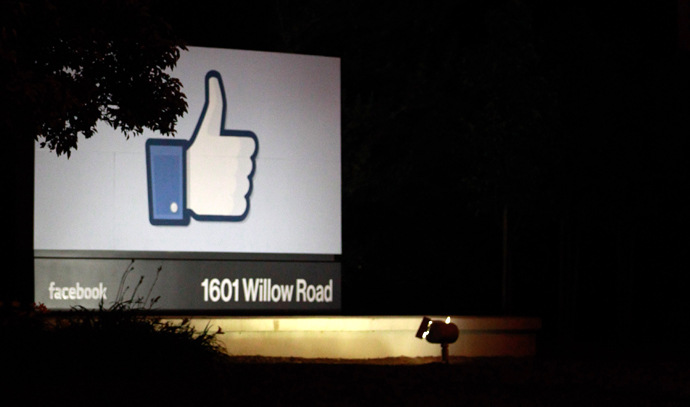 A 'like' sign stands at the entrance of Facebook headquarters in Menlo Park, California. (AFP Photo / Getty Images / Stephen Lam)