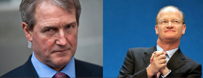 British Secretary of State for the Department of the Environment, Food and Rural Affairs Owen Paterson (L) and Minister for Universities and Science Incumbent David Willets
