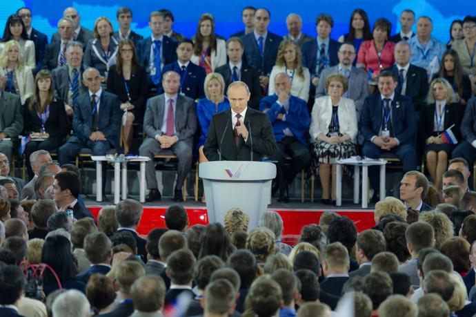 President Vladimir Putin speaks at the founding congress of the Russian Popular Front (RIA Novosti / Denis Grishkin)