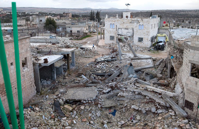 The remains of a mosque allegedly destroyed by an explosive device dropped from a Syrian jet fighter in the town of Kfar Nubul. (AFP Photo / Daniel Leal-Olivas)