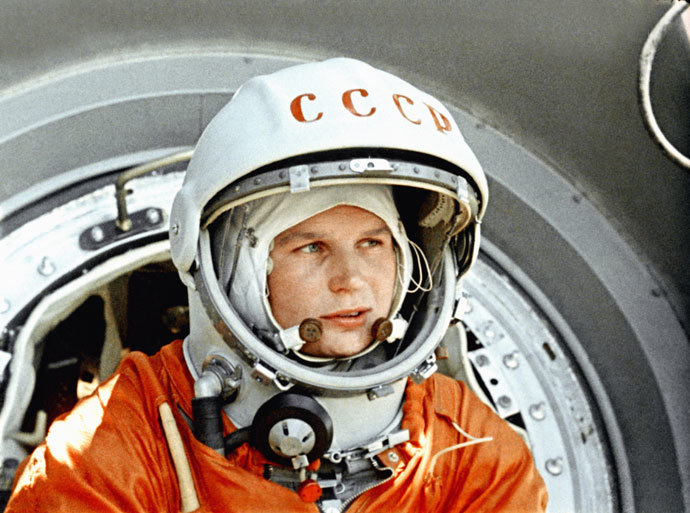 "Screenshot of a ""Soviets in Space"" documentary. Depicting a soviet cosmonaut and Hero of the Soviet Union Valentina Tereshkova.(RIA Novosti)"
