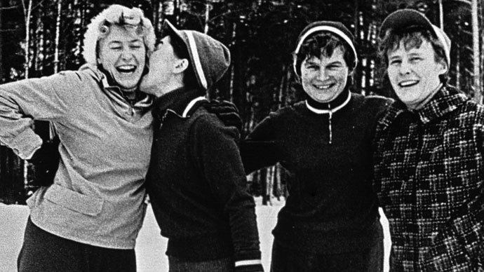 On a skating rink (left to right): Tatiana Pitskhelauri, Irina Solovyeva, Valentina Tereshkova and Valentina Ponomaryova.(RIA Novosti)