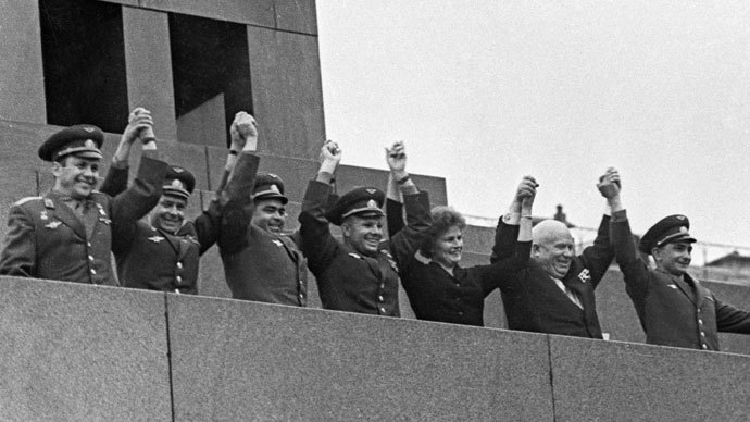 Left to right: Pavel Popovich, German Titov, Andriyan Nikolayev, Yuri Gagarin, Valentina Tereshkova, Nikita Khrushchev and Valery Bykovsky on the mausoleum rostrum at the meeting on success of the Vostok-5 and Vostok-6 space missions.(RIA Novosti / V. Malyshev)