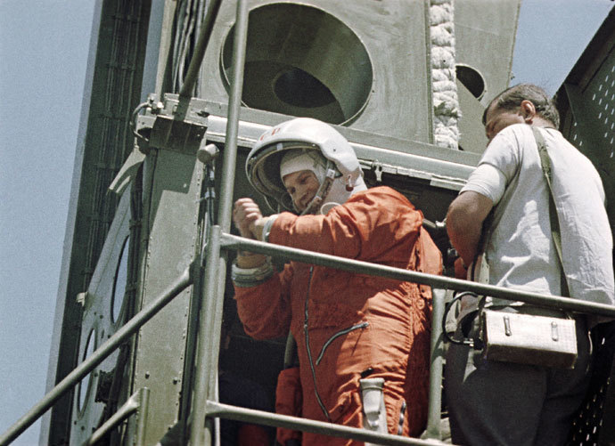 Pilot-Cosmonaut Valentina Tereshkova before lift-off.(RIA Novosti)
