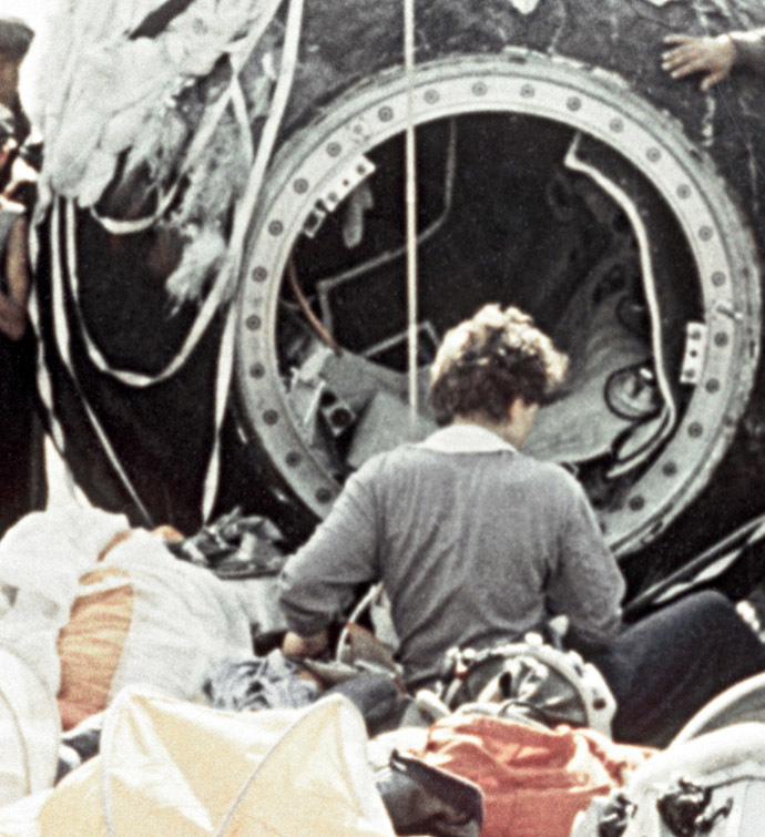 The U.S.S.R. Pilot-Cosmonaut Valentina Tereshkova just after landing in the Vostok-6 spaceship. (RIA Novosti)