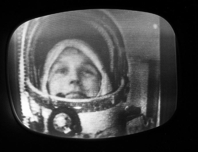 Pilot-cosmonaut Valentina Tereshkova in the cabin of the Vostok-6 spacecraft. (RIA Novosti)