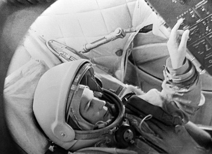 Pilot-Cosmonaut Valentina Tereshkova inside Vostok spacecraft simulator. (RIA Novosti)