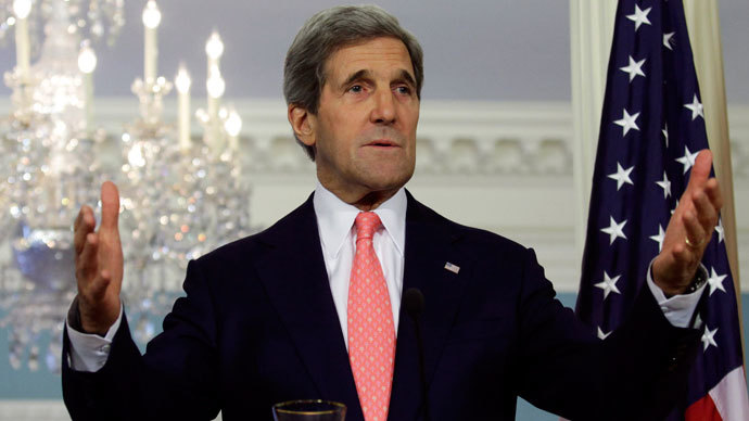 Kerry condemns Assad for threatening peace talks as CIA 'prepares' to arm rebels