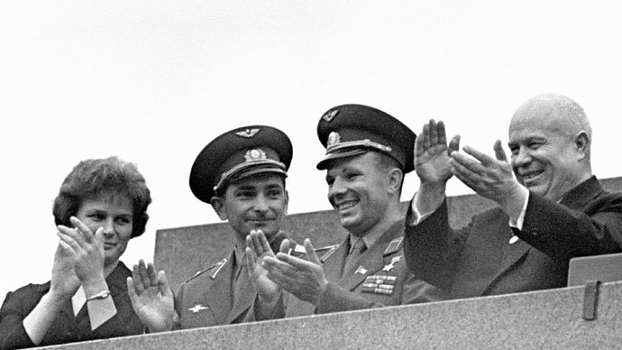 Soviet Communist Party First Secretary Nikita Khrushchev (right), Yuri Gagarin (second from right), Valery Bykovsky (second from left) and Valentina Tereshkova (left) during a rally dedicated to the successful completion of the flight of the Vostok-5 and Vostok-6 spacecraft.(RIA Novosti / V. Malyshev)