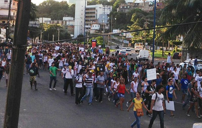 Photo shows peaceful protest in the city of Salvador on Saturday