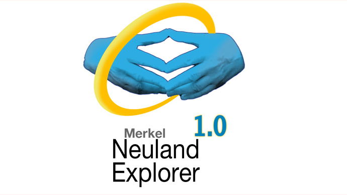 Merkel's infamous triangular hand gesture forming the logo of the fictional 'Neuland Explorer.'(Image from newsfromneuland.tumblr.com)