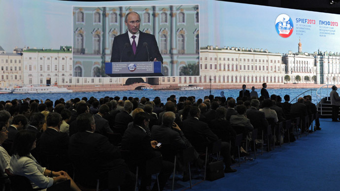 President Vladimir Putin speaks at the 17th St. Petersburg International Economic Forum. (RIA Novosti/Michael Klimentyev)