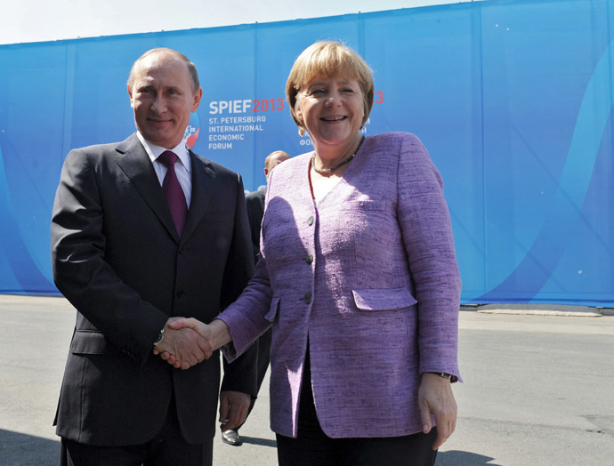 Russian President Vladimir Putin and guest of honor German Chancellor Angela Merkel at the 17th St. Petersburg International Economic Forum. PMEF.(RIA Novosti/Michael Klimentyev)