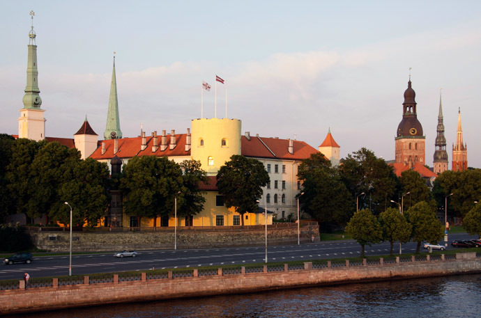 View of the Presidential Castle, center, from the Daugava River in Riga. (RIA Novosti/Oksana Dzhadan)