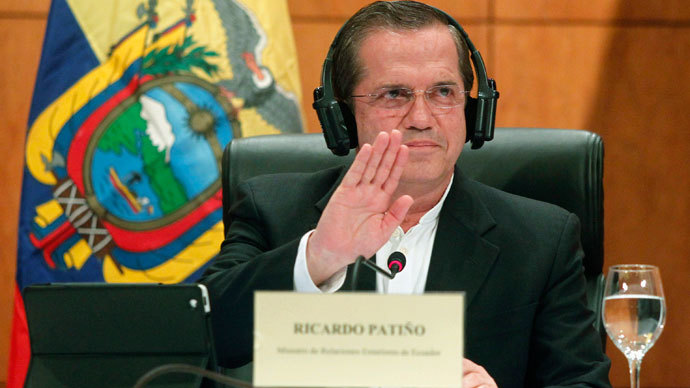 Ecuador's Foreign Minister Ricardo Patino reacts as he speaks at a news conference in Hanoi June 24, 2013. (Reuters / Kham)