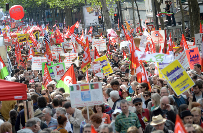 """Some of the estimated 30,000 demonstrators """"against the austerity, against the finance and to ask for a Sixth Republic"""" on May 5th in Paris. (AFP Photo)"""