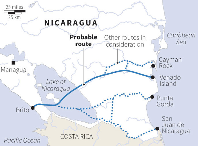 The proposed 286-kilometer (178-mile) canal route to be built through Nicaragua. (Reuters)