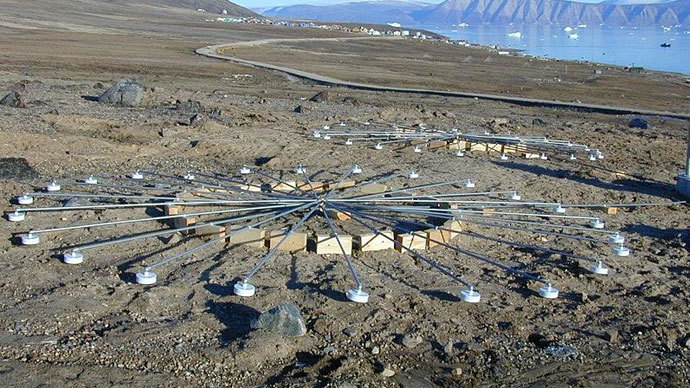 Infrasound arrays at IMS infrasound station IS18, Qaanaaq, Greenland.(Photo from wikipedia.org)