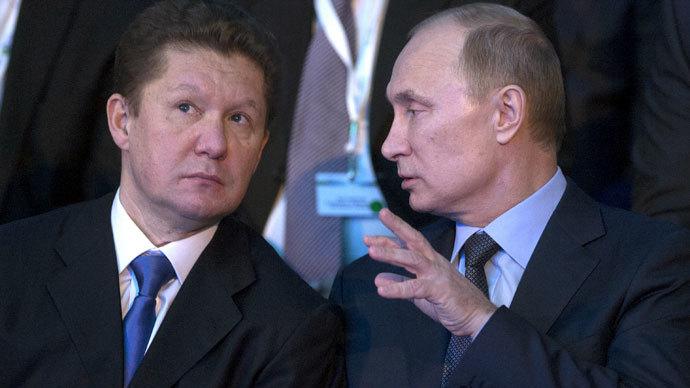 Russian President Vladimir Putin and Chairman of the Board of OAO Gazprom Alexey Miller.(RIA Novosti / Sergey Guneev)