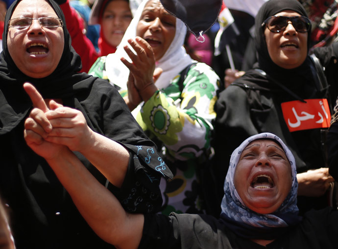 Protesters, who are against former Egyptian President Mohamed Morsi, demonstrate in Tahrir Square in Cairo July 4, 2013. (Reuters/Suhaib Salem)