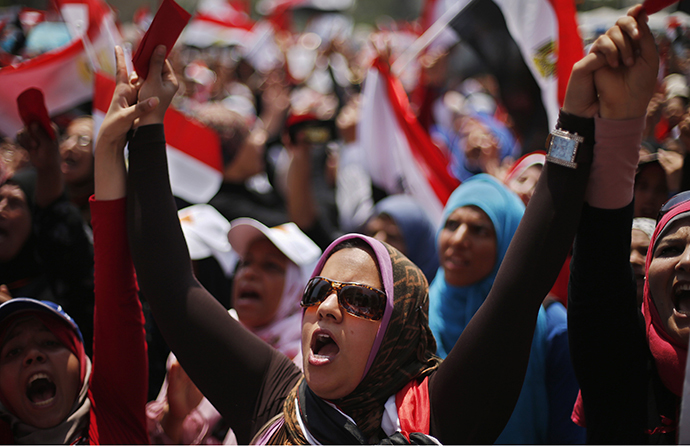 Protesters opposing Egyptian President Mohamed Morsi take part in protest, July 2, 2013. (Reuters / Suhaib Salem)