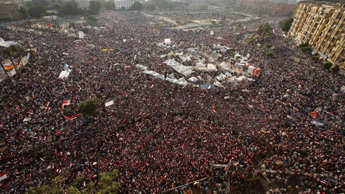 An aerial view shows protesters against Egyptian President Mohamed Mursi in Tahrir Square in Cairo July 3, 2013. (Reuters/Suhaib Salem)