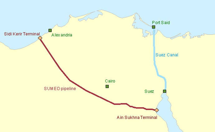 A map showing the Suez Canal, which is 190 kilometers east of the protests in Cairo, and intersects Port Said, where protests broke out in March 2013. Image from www.eia.gov