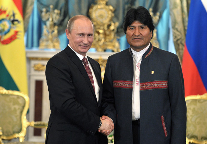 President Vladimir Putin (left) of Russia and his Bolivian counterpart Evo Morales Ayma seen meeting in the Kremlin, July 2, 2013. (RIA Novosti)